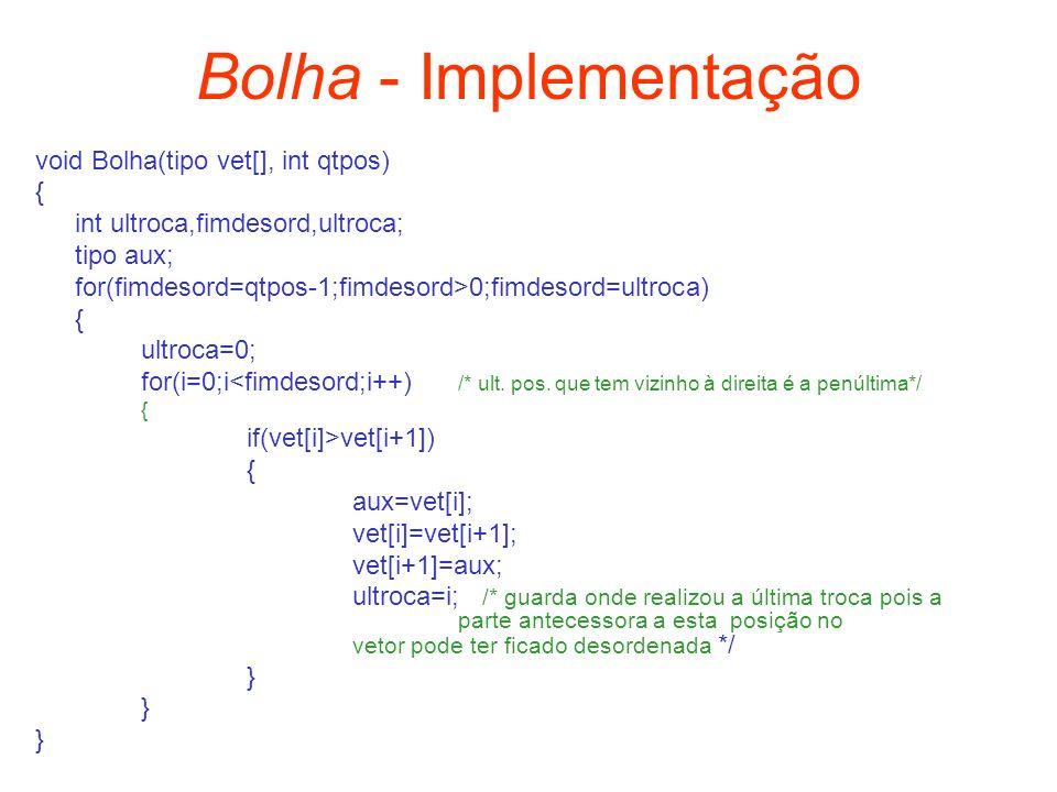 Bolha - Implementação void Bolha(tipo vet[], int qtpos) {